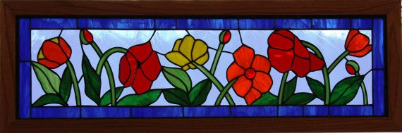 Field of Flowers Stained Glass Transom RESERVED FOR JOAN