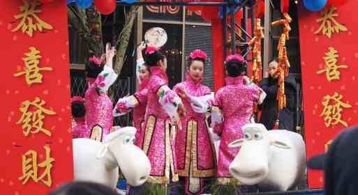 Girls on a float in Vancouver's Chinese New Year's parade during the Year of the Ram