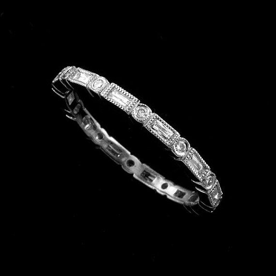 Platinum 950 Art Deco Style Diamond French Cut Baguette Stackable Eternity Ring Band 1.5mm Wide