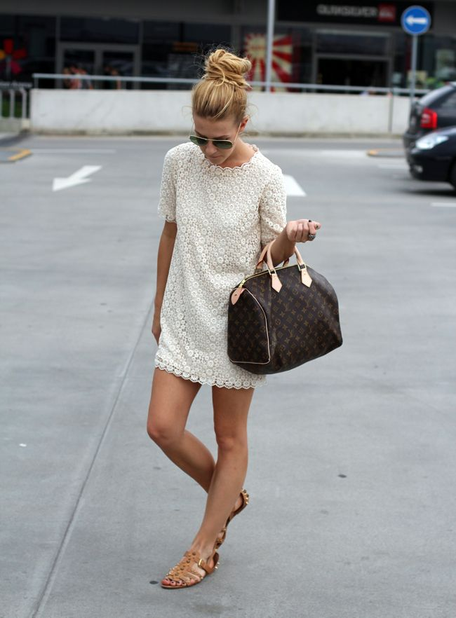 Classic.  white lace dress, speedy 30, gold sandals, aviators and top knot.  completely my all time favorite go-to look for summer