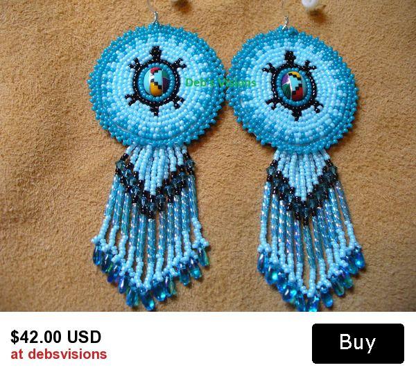 Rosette style beaded Native American inspired Turtle earrings in Blues