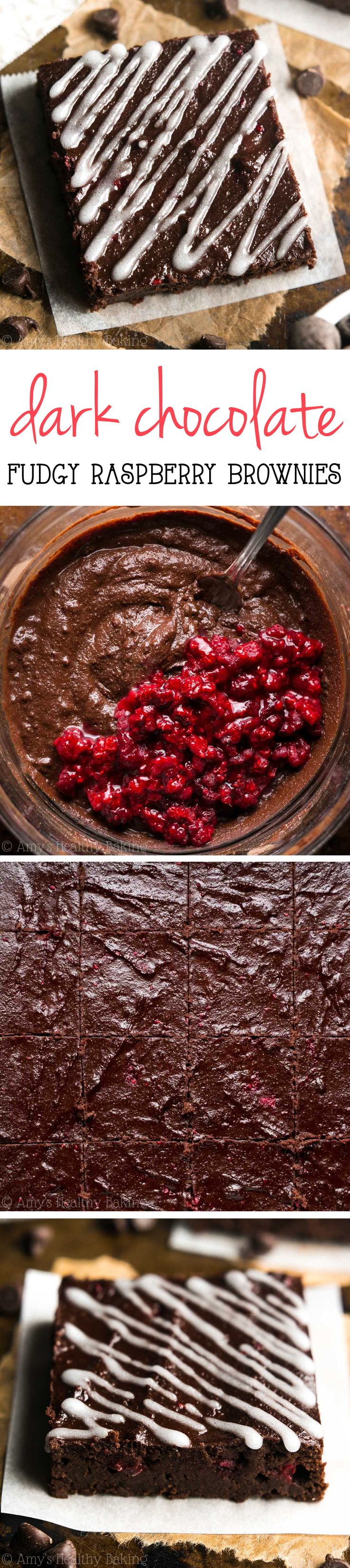 Healthy Raspberry Brownies Recipe! These fudgy homemade, from-scratch brownies are just as easy as a boxed mix! So rich & the BEST you'll ever eat -- but they're secretly skinny & guilt-free! | easy raspberry brownies | brownies from scratch | healthy homemade brownies recipe