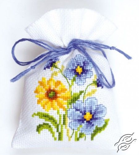 Blue/Yellow Flowers - Cross Stitch Kits by VERVACO - PN-0146038