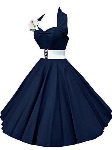 VKStar®️️️Robe Rétro Chic Style Halter Sans Manche Vintage années 1950s Audrey Hepburn Robe de Soirée/Cocktail Femme Rockabilly Swing: Le mode…