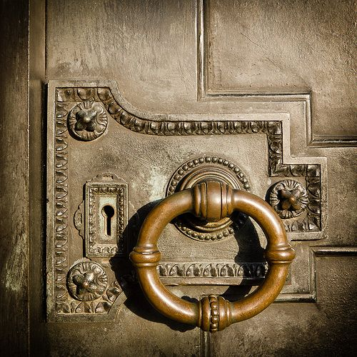 Antique Lock & Door Knocker at the Cliveden House, England. #oldthings