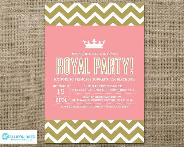 Princess Invitation - Crown - Pink Birthday - Chevron - Princess Printable - Girl Birthday - Printable Party - Pink and Gold invitation de EllisonReed en Etsy https://www.etsy.com/mx/listing/127494906/princess-invitation-crown-pink-birthday