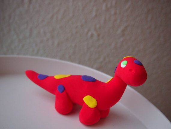OOAK Red Dotted Apatosaurus Soft Clay Figurine One Of by Anorichan
