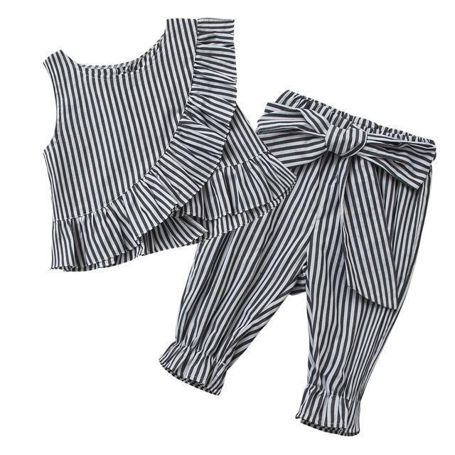 2018 Mode Baby Mädchen Kleidung Set Mädchen 2pcs gestre  #2pcs #Baby #gestre #…