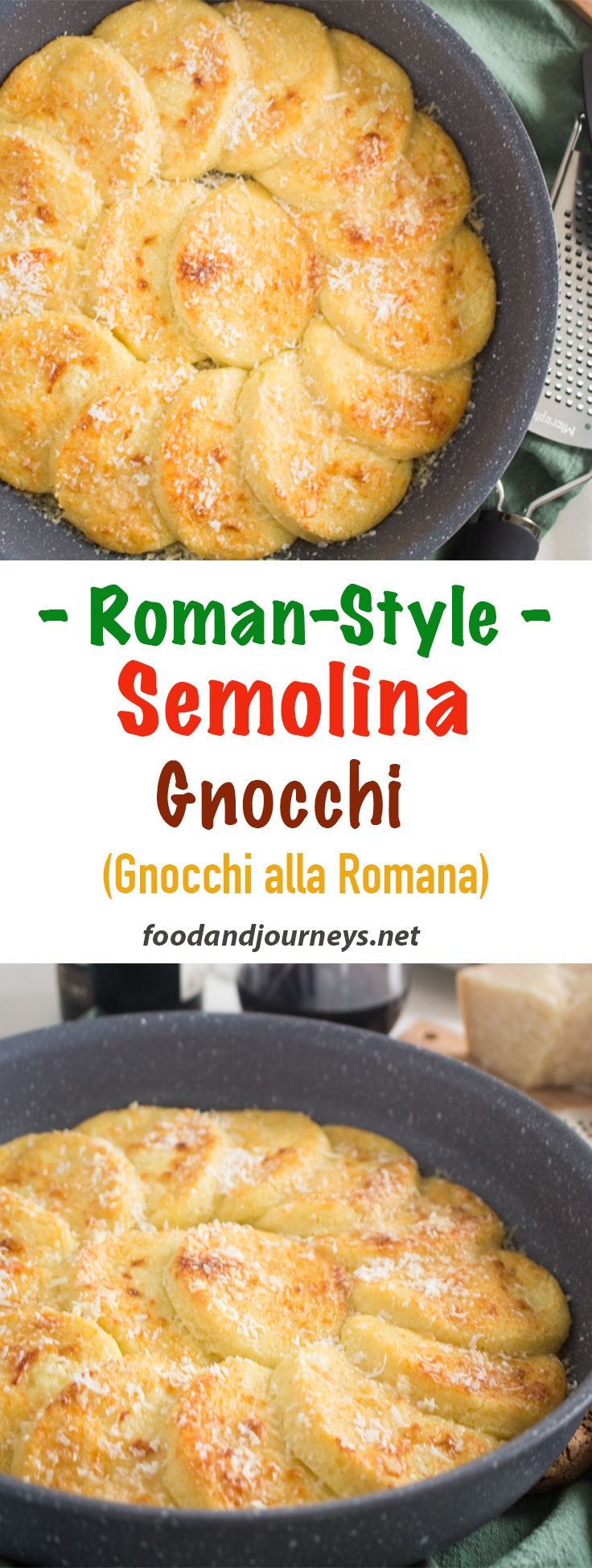 Italian Recipe | Side Dish | Comfort food | Baked Gnocchi. A great alternative to mashed potatoes!  Gnocchi alla Romana (or Roman Style Semolina Gnocchi) is an ideal side dish for grilled or roasted meat.  Creamy &  full of cheese -- simply delicious! #italianrecipes #gnocchirecipes #sidedishrecipes #semolinarecipe