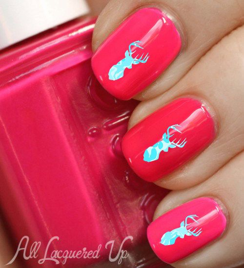 TURQUOISE Camo DEER  head nail decals. Exclusive by NailStatement, $4.00