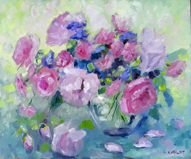 Cécile Chalot - Bouquet de roses, scabieuses et oeillets huile sur bois 46*55 cm
