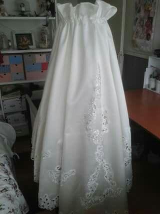 Hemeltje gemaakt van een trouwjapon.