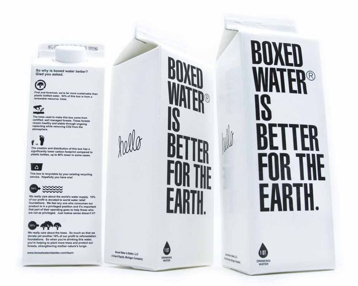 Imagine the branding possibilities. The Boxed Water container is far more sustainable than plastic bottled water. About 76% of the box is from a renewable resource, trees. The trees used to make our box come from certified, well managed forests. These forests remain healthy and stable through ongoing replanting while removing CO2 from the atmosphere.