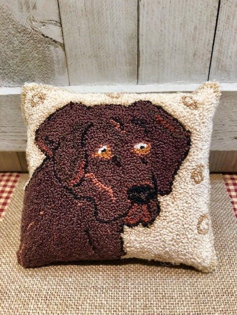 Finished Punch Needle Embroidery Chocolate Labrador