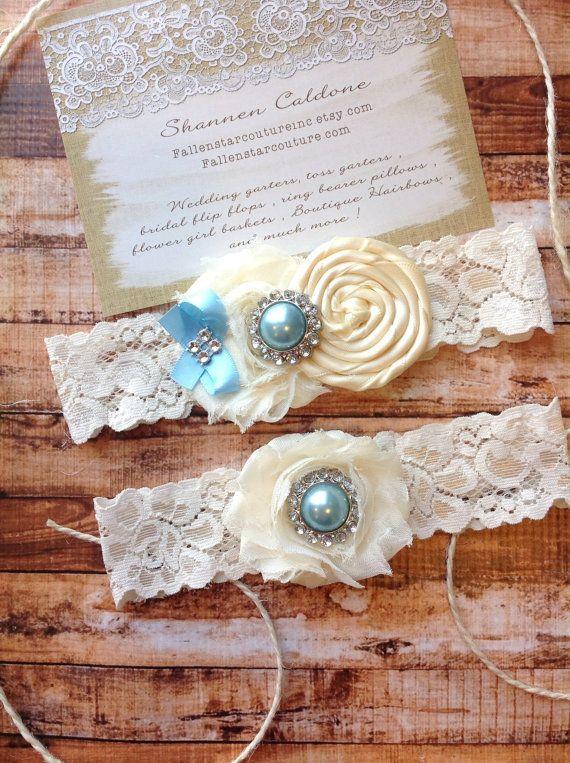 Garter/ ivory wedding garter / bridal by FallenStarCoutureInc