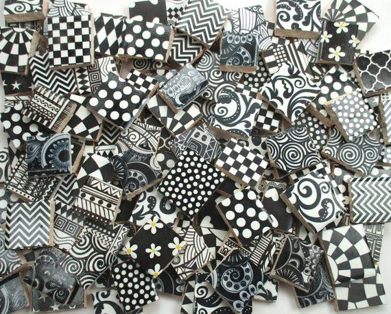 Bulk Mosaic Tiles 2 Pounds Mixed Black White Designs Mosaic Tile