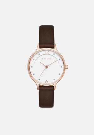 Skagen Anita Watches Dark Brown & Rose Gold