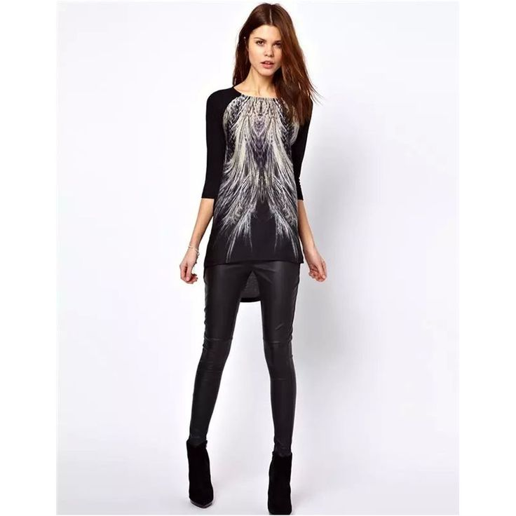 Womens Korean Fashion Feather Pullover Long Blouse Sleeve Tunic Tops Plus Size #DL #Tunic #Casual