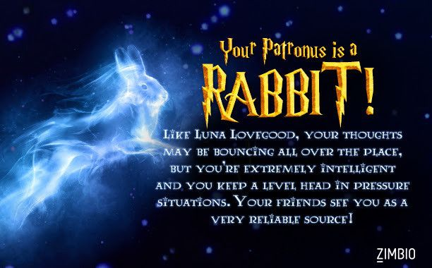 I took Zimbio's Patronus quiz and got Rabbit! What's yours? - Quiz Of course I'm a rabbit. It is my zodiac symbol after all.