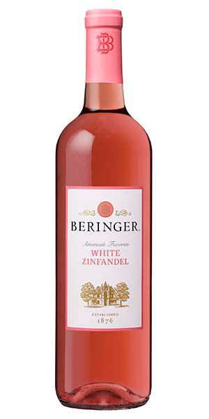 "Beringer White Zinfandel, California: ""In making Beringer's White Zinfandel, the focus is to highlight the fresh red berry, citrus and melon aromas and flavors, and round them out with subtle hints of nutmeg and clove. The wine has a youthful exuberance that is enjoyable as a sipper on its own, or with a variety of dishes."" – Winemaker's notes"