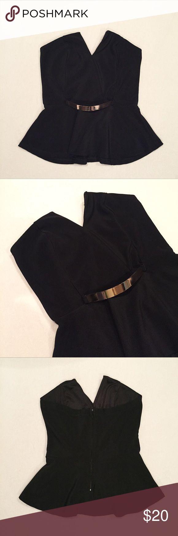 Black Peplum Top Black peplum top w/ zip closure. In excellent condition. Charlotte Russe Tops