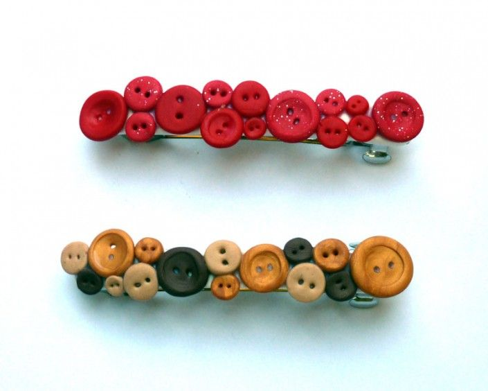 Hair clips decorated with buttons in polymer clay handmade - Fermacapelli decorati con bottoni in fimo fatti a mano
