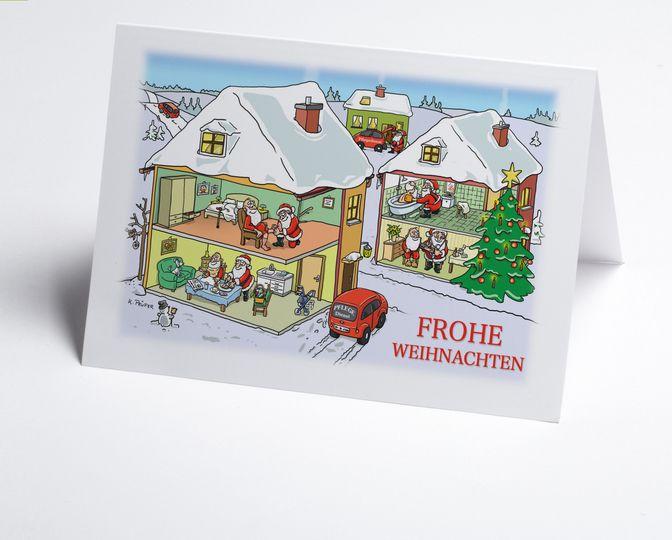 Branchen #Weihnachtskarte ambulante 'Pflege mit lustigen Nikoläusen als Pflegepersonal