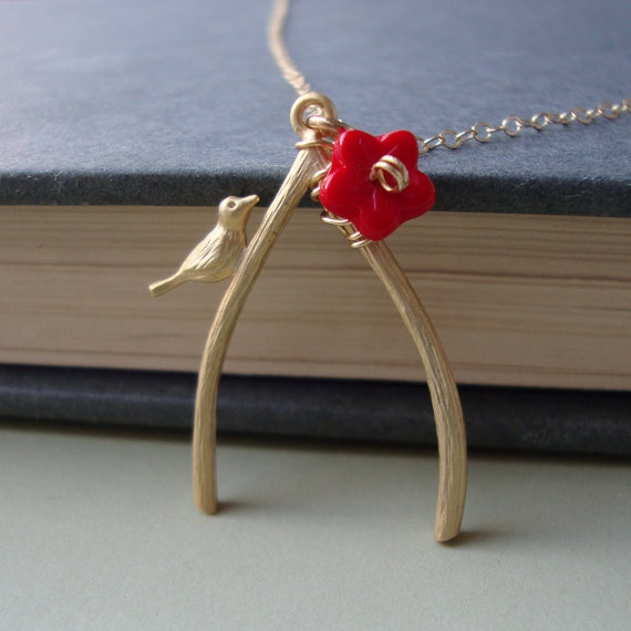 beautifulI D Glad, Wraps Red, Red Flower, Glad Wear, Wire Wraps, Necklaces Gold, Filling Wire, Wishbone Necklaces, Gold Filling