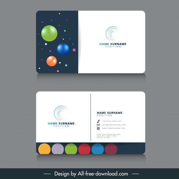 Business Card Template Modern Colorful Shiny Circles Decor Free