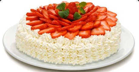 Strawberry-cream layer cake with a lemon curd & vanilla filling
