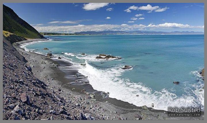 Palliser Bay coast panorama looking towards Ocean Beach. Aorangi Haurangi Range beyond.  Ocean Beach.