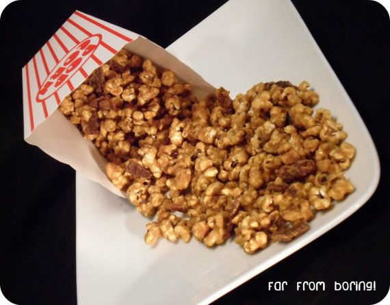 Bacon Bourbon Caramel Popcorn by FarFromBoringTreats on Etsy, $5.99
