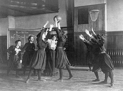 "just one year after John Naismith invented ""basket ball"" in 1891, Smith's College organized the first women's basketball team. Four years later, the first women's intercollegiate basketball championship was played between Stanford and the University of California at Berkley — before a crowd of 700 women."