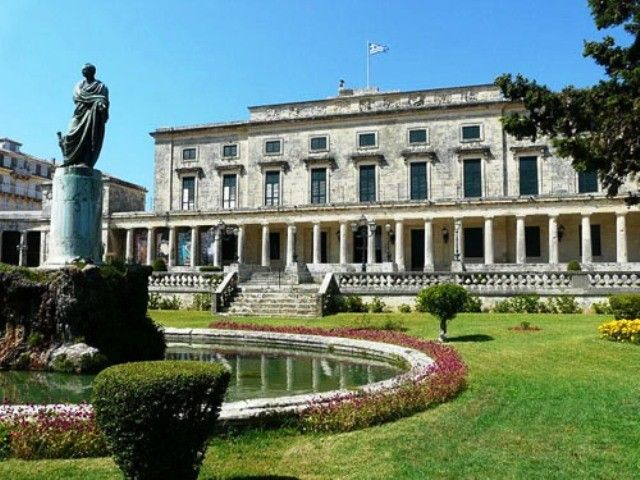 The Achilleion Palace was built by Empress of Austria Elisabeth of Bavaria, also known as Sisi. The central theme of the palace is the mythical hero Achilles.