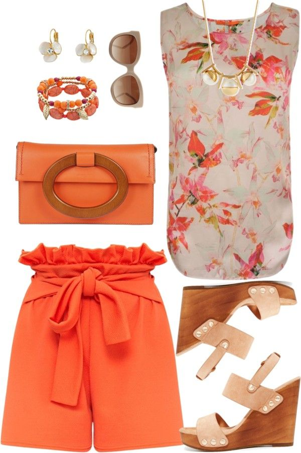 Untitled #3383 by emmafazekas featuring a loose blouse ❤ liked on Polyvore BOSS Orange loose blouse, 120 BAM / Paper bag waist shorts, 27 BAM / Joie slingback sandals, 520 BAM / Michael Kors orange...