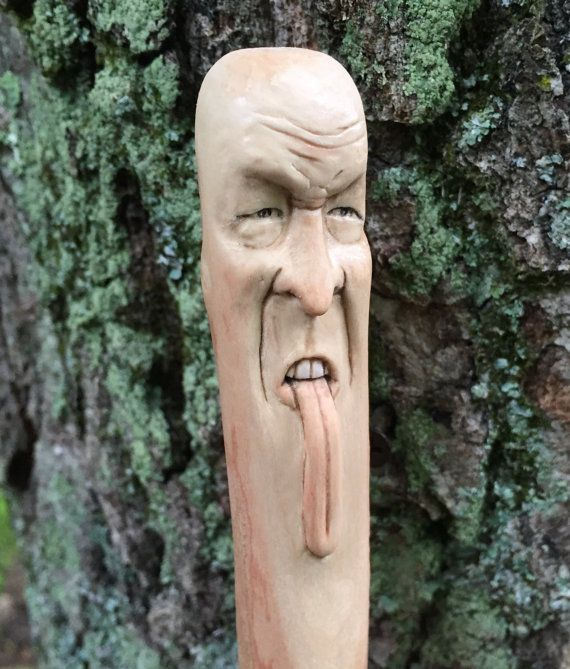 Walking Stick Wood Carving Hand Carved Wood Spirit by JoshCarteArt