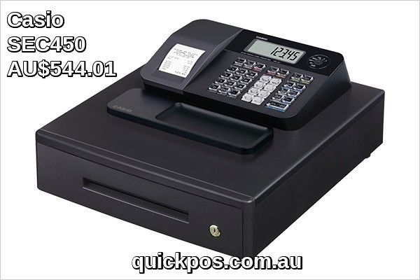 Casio Sec450 ecr is the casio cash register. This model has a single thermal receipt printer 72 flat department/ PLU keys on board and comes in black with a full sized metal cash drawer. #QuickPOS #CasioCashRegister #http://www.quickpos.com.au/cash-registers/casio-cash-registers-casio-sec450-ecr-sec450.html
