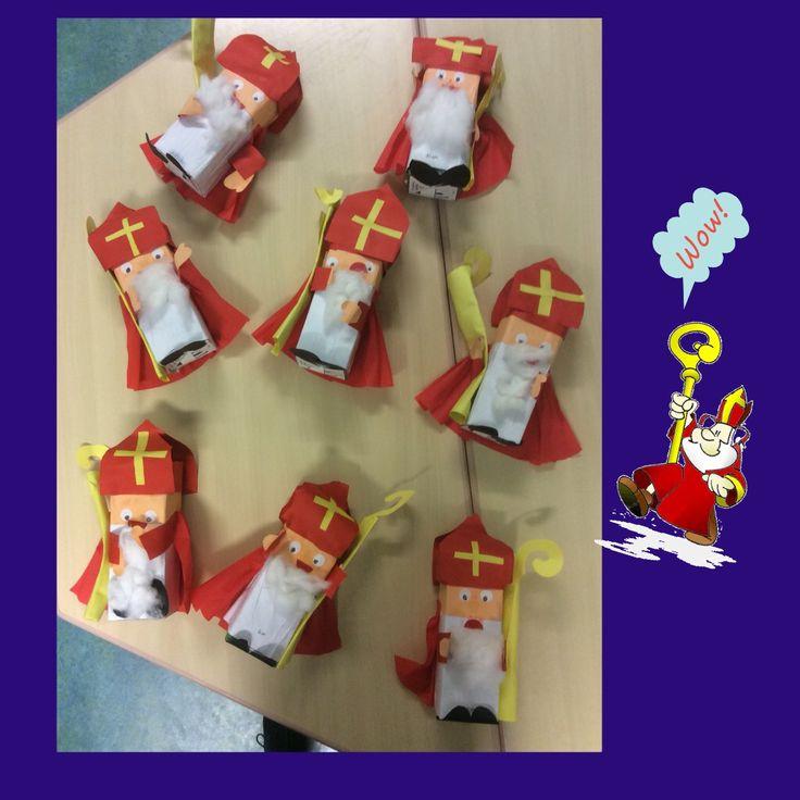 Sinterklaas gemaakt van melkpakken