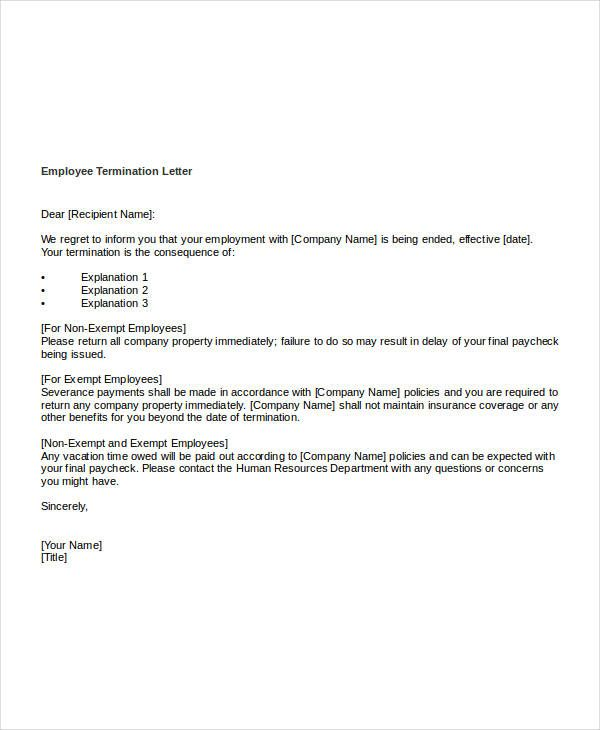 free termination letter templates word pdf documents warning for misconduct employee sample