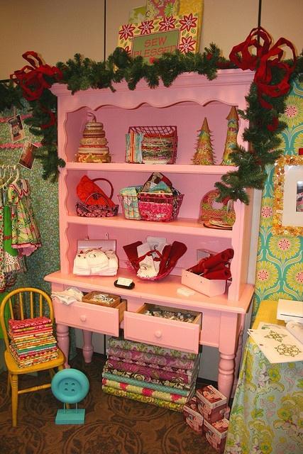 pink desk and hutch -- shop display or craft room storage