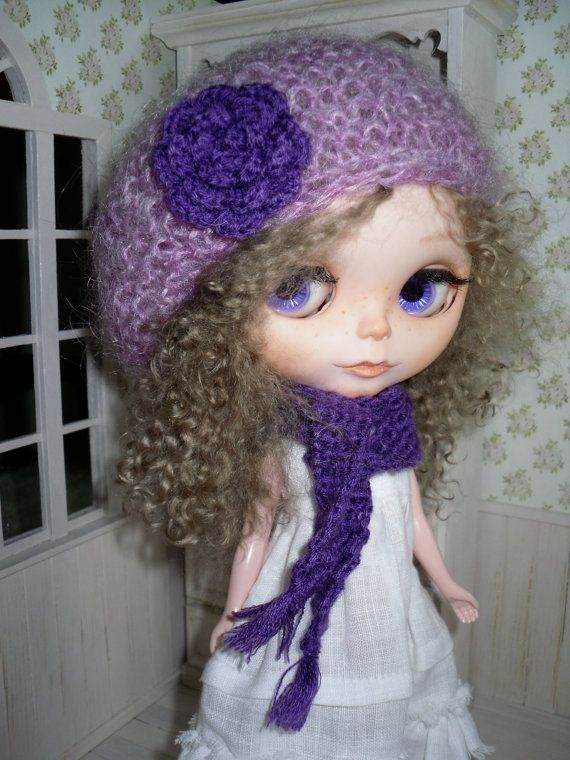 Purple cap and scarf for Blythe by LittleGiftCove on Etsy