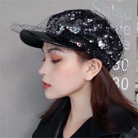 Sequin Baker Boy Cap with veil for women fashion spliced greek fisherman hat c191bd28458