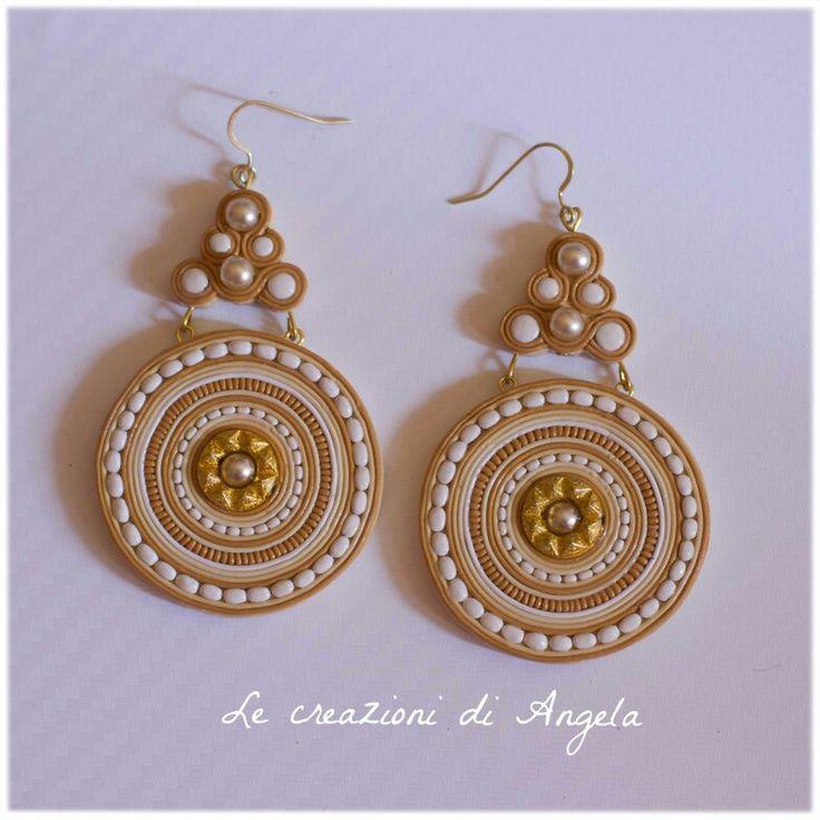 Handmade polymer clay earrings, aztec soutache effect ;)
