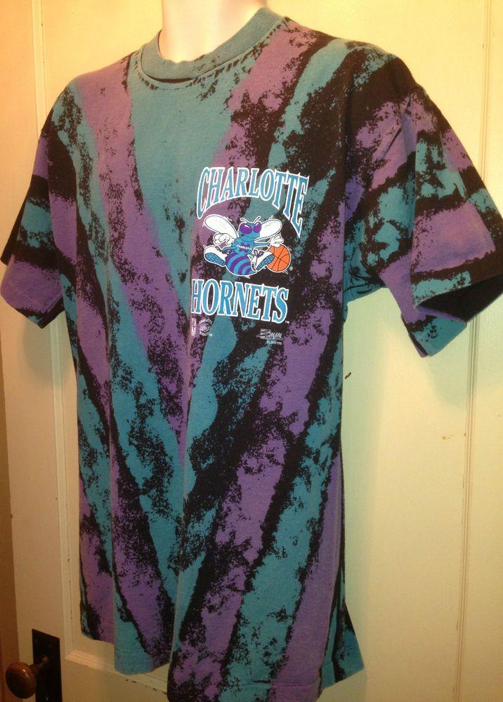 Nba Logos 2017 >> Vintage RARE 90s NBA CHARLOTTE HORNETS Tie-Dye Print T-Shirt Old Jersey Logo L | Logos ...