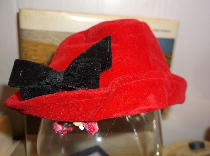Vintage Red Velvet DOLL HAT bonnet with flowers and black ribbon trim