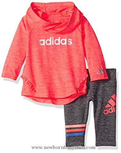 Baby Girl Clothes adidas Baby' Hoodie and Legging Set, Flash Red Heather, 24 Months