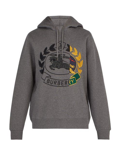 51e3f09f7d6 BURBERRY BURBERRY - KNIGHT EMBROIDERED HOODED SWEATSHIRT - MENS - GREY.   burberry  cloth