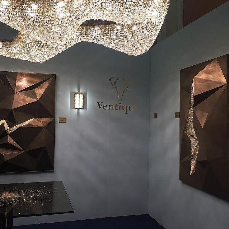 @luxurymadeshow #ventique innovative lighting using precious metals and crystals. #unique #bespoke #stunning #lighting #londondesignweek