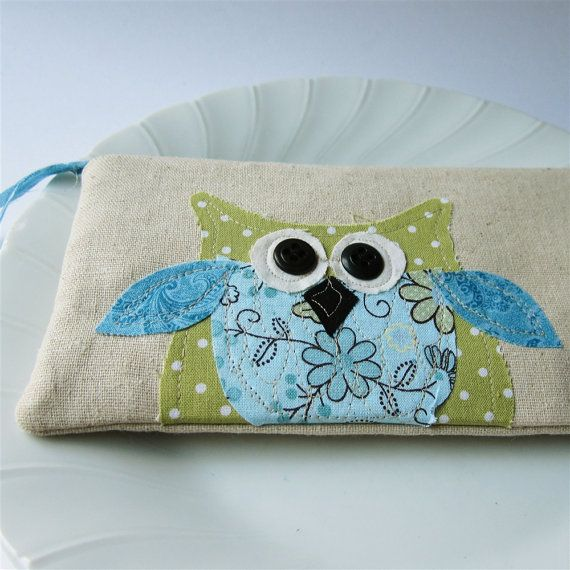 owl personalized pouch with zipper polkadots by mamableudesigns, $29.00