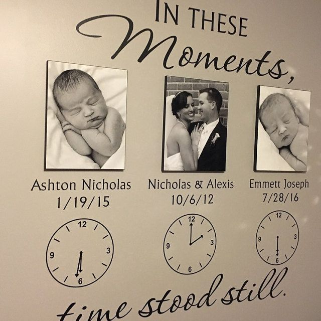 LARGE wall decal you can customize with names and dates for family members. Available in various sizes and colors.  In These Moments Time Stood Still Personalized Wall Decal Family Wall Decal Clock Wall Decal Vinyl Lettering Wall Decal
